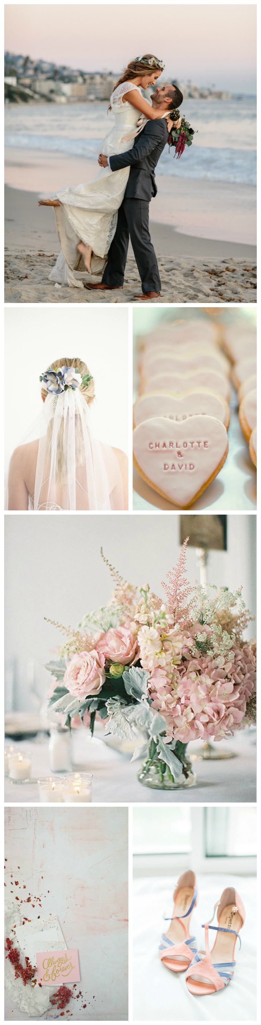 beautiful pink and blue wedding color palette