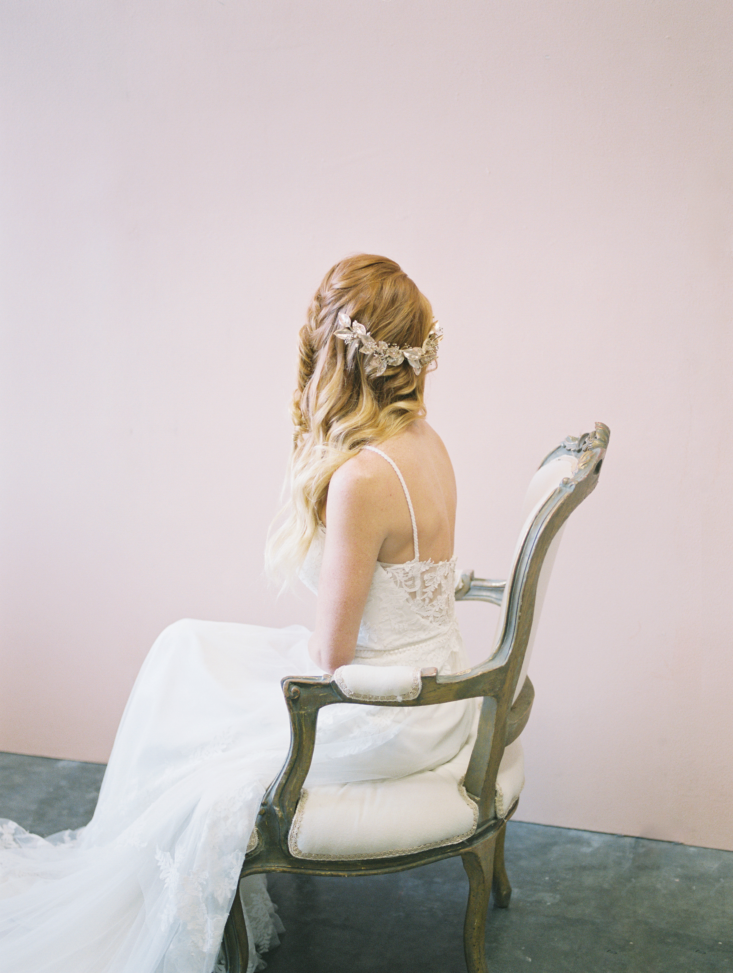 bridal braided hairstyle with leaf half crown by love sparkle pretty