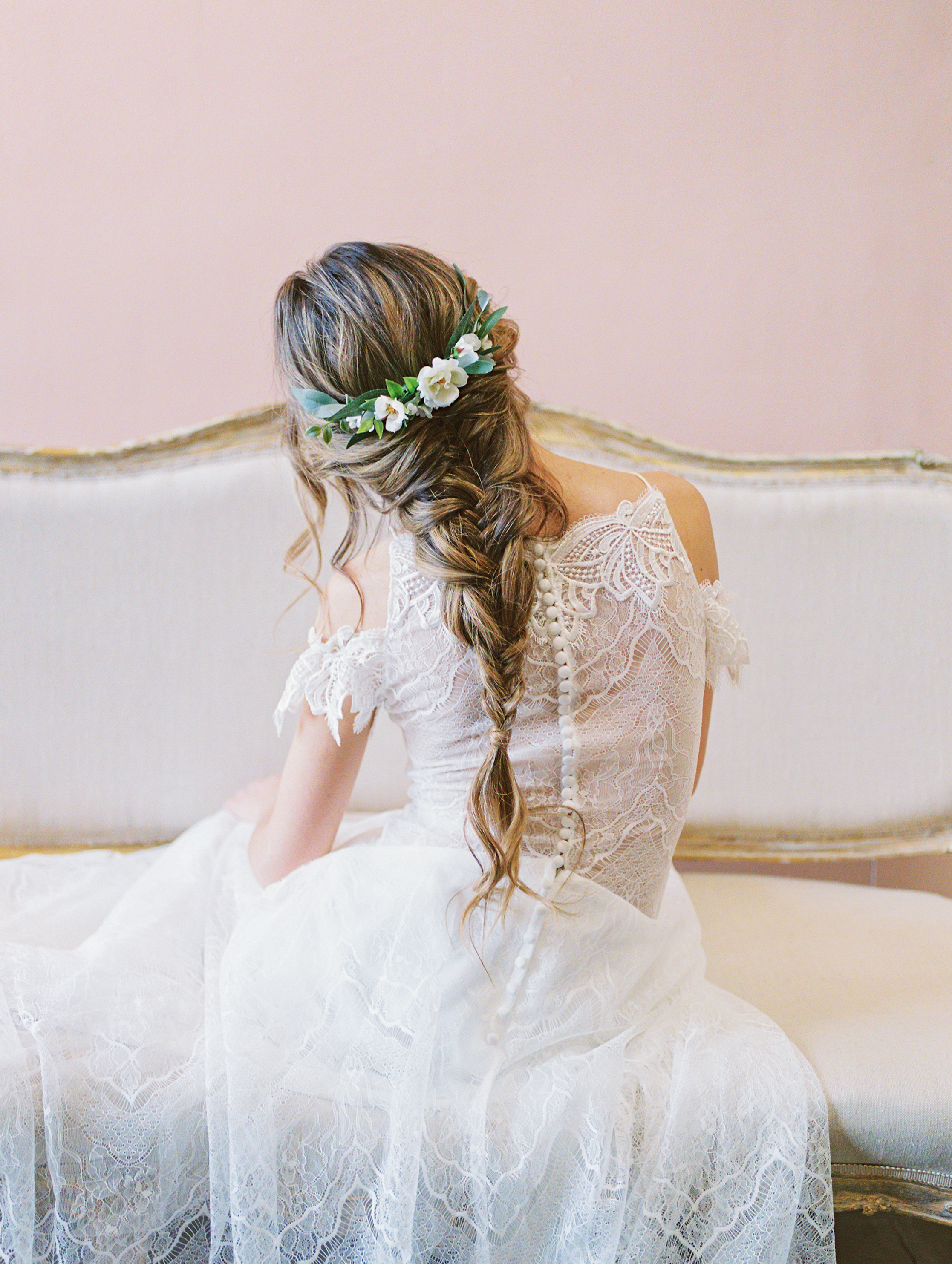 braided bridal hairstyle with half flower crown by love sparkle pretty