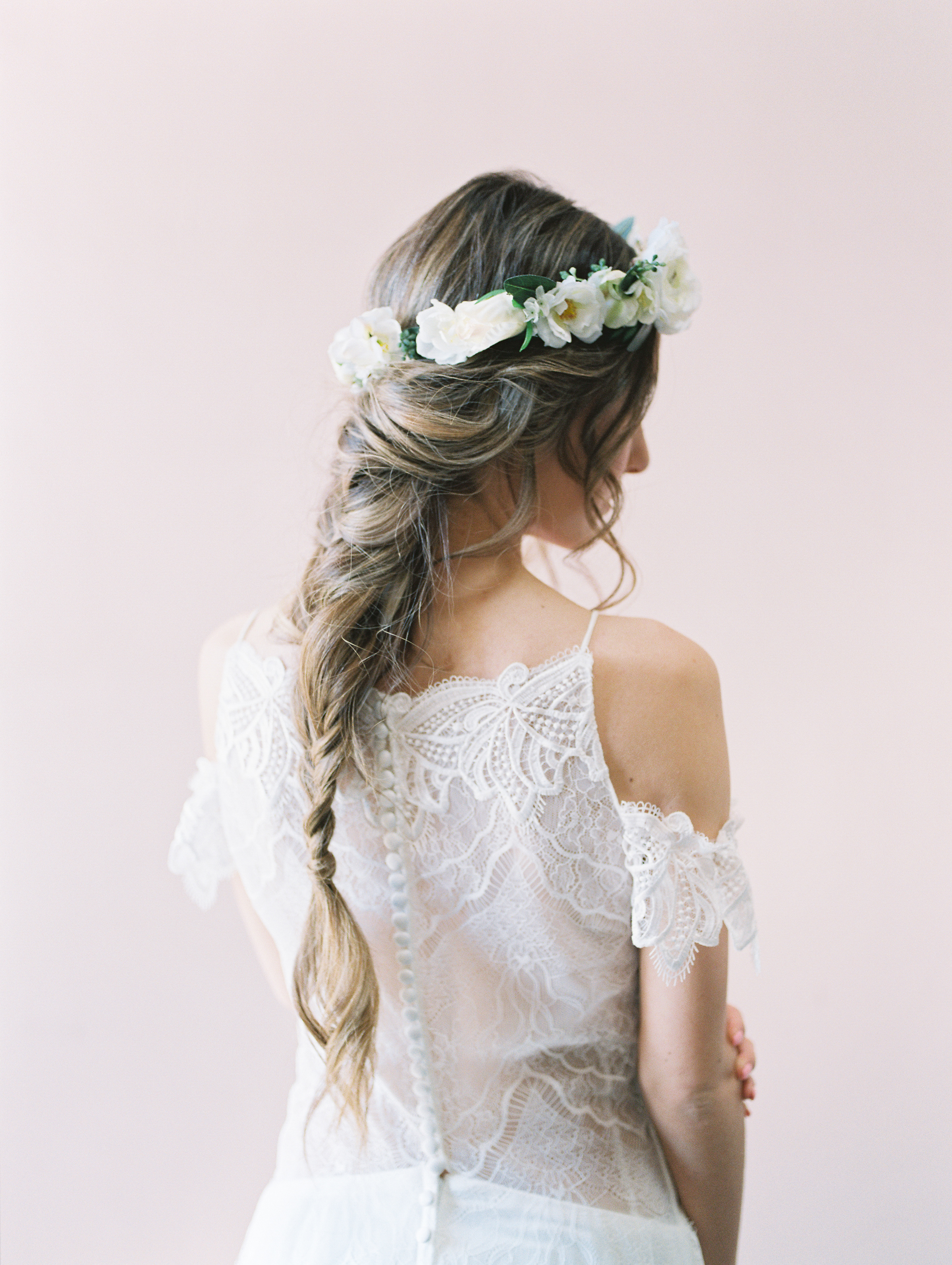 white flower crown bridal crown bridal hairstyle with floral crown by love sparkle pretty