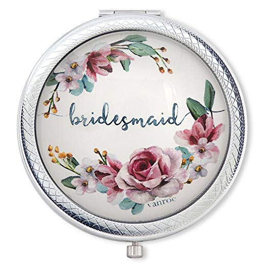 bridesmaid gift compact flower mirror