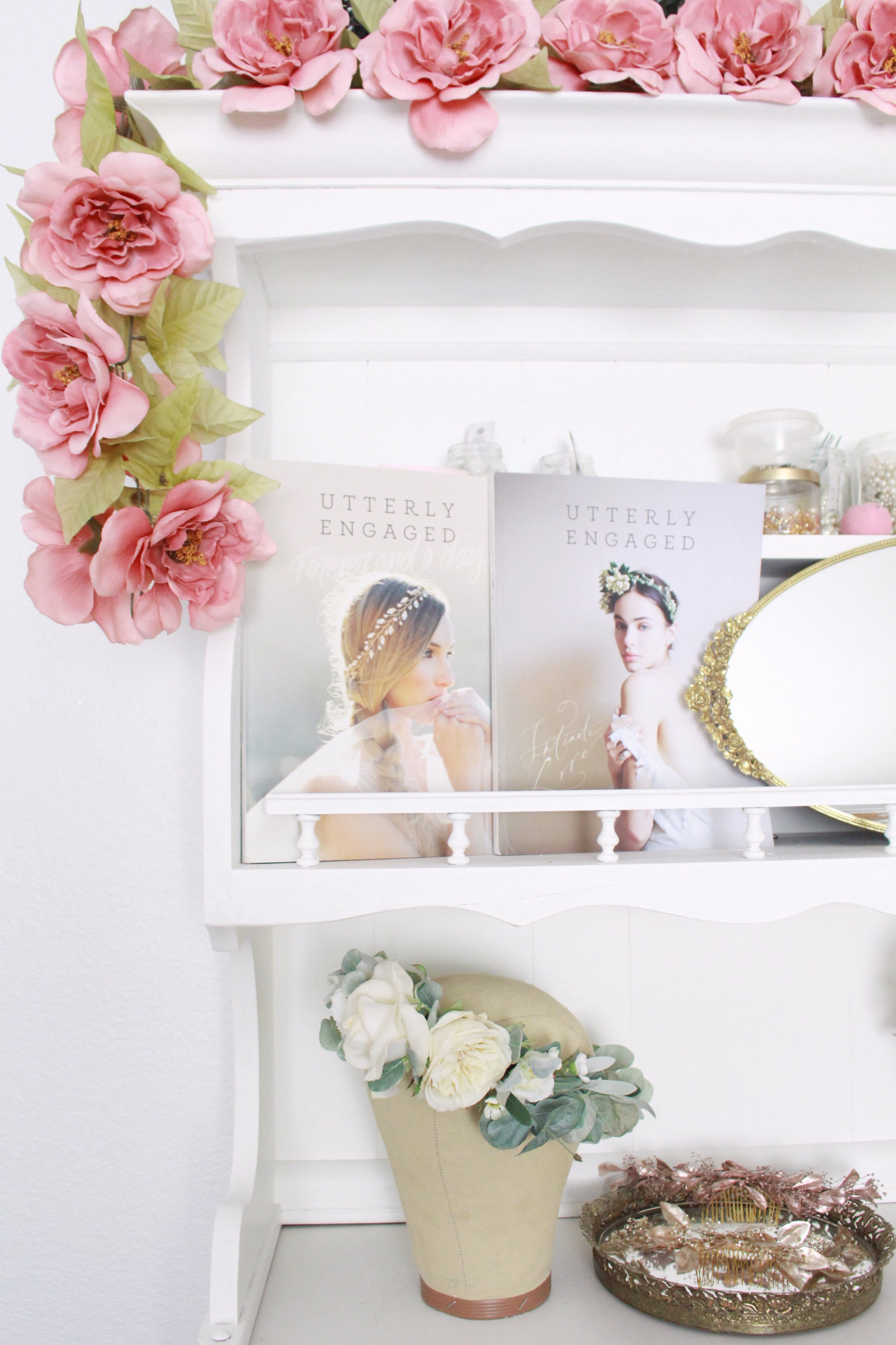 Pretty studio space of bridal designer Love Sparkle Pretty. Flower crowns craft room. Where women create.