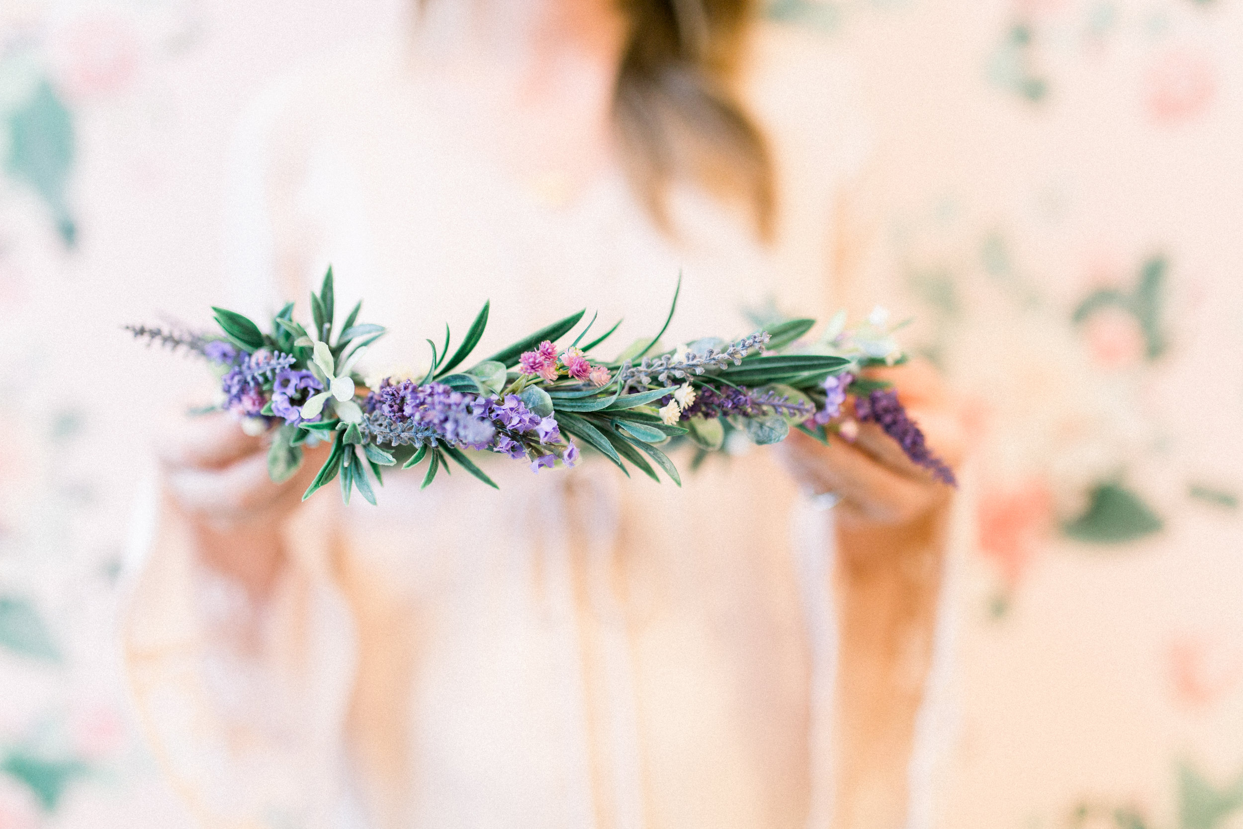 Flower crown workshop in Southern California with Love Sparkle Pretty at Morning Lavender