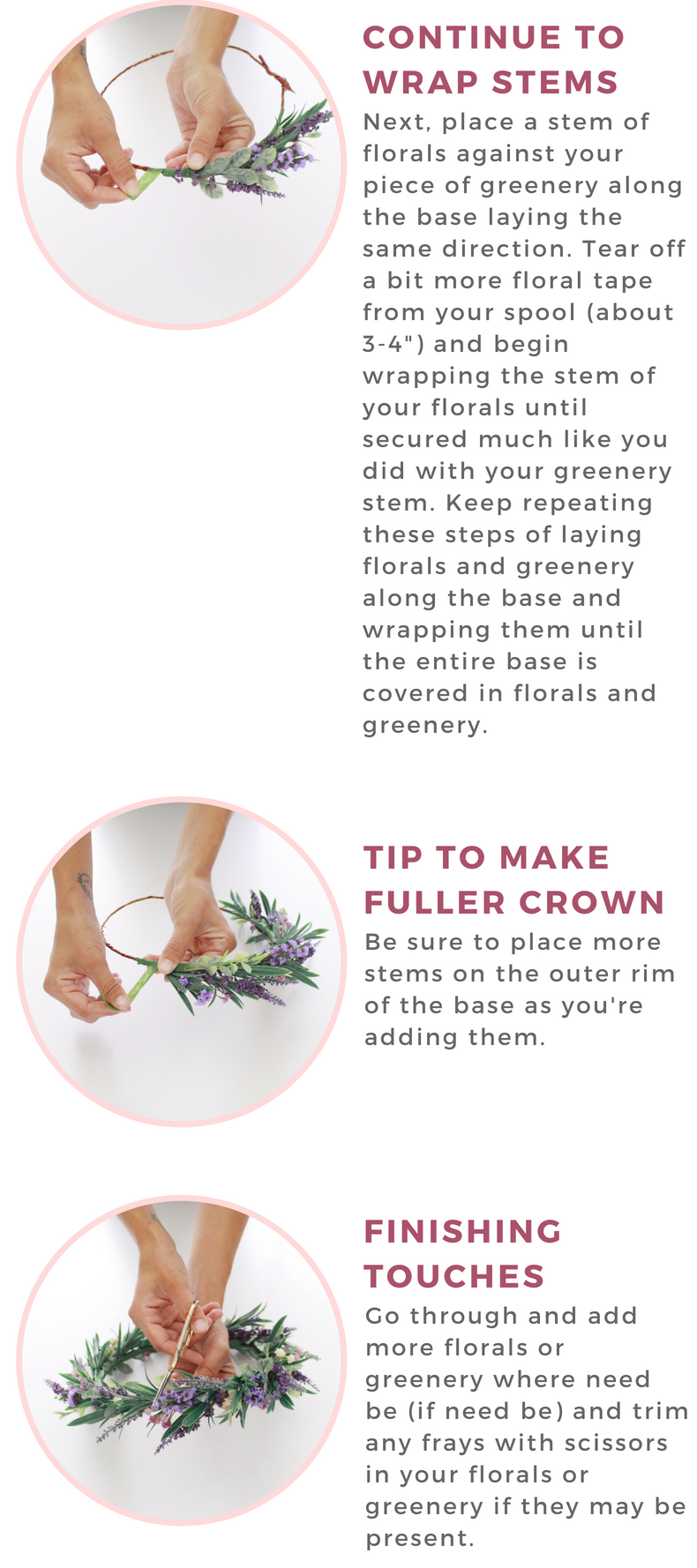 how to create your own flower crown. floral crown diy
