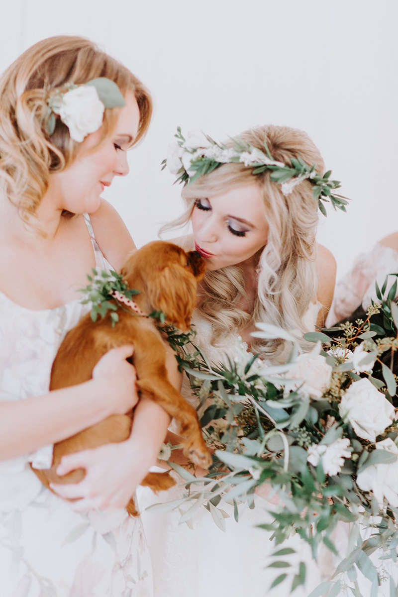 Winter wedding with greenery details and puppies! Floral crown by Love Sparkle Pretty. Photos by Alex LaSota