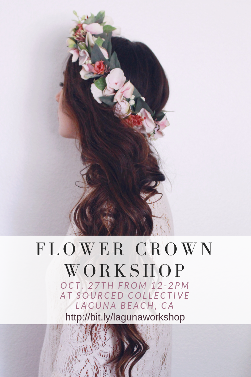 flower crown workshop in Laguna Beach with Love Sparkle Pretty. Flower crown hairstyle