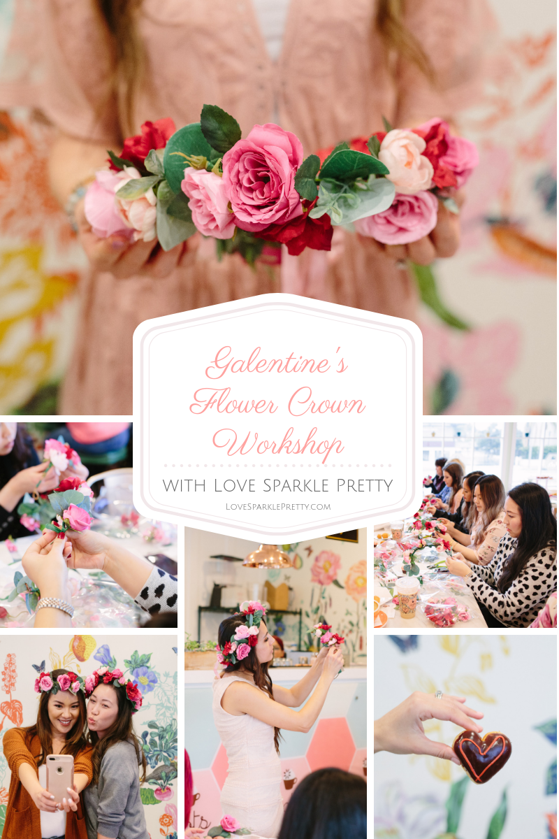 Flower Crown Workshop with Love Sparkle Pretty in Pasadena California. Galentine's Day at Dots Cafe.