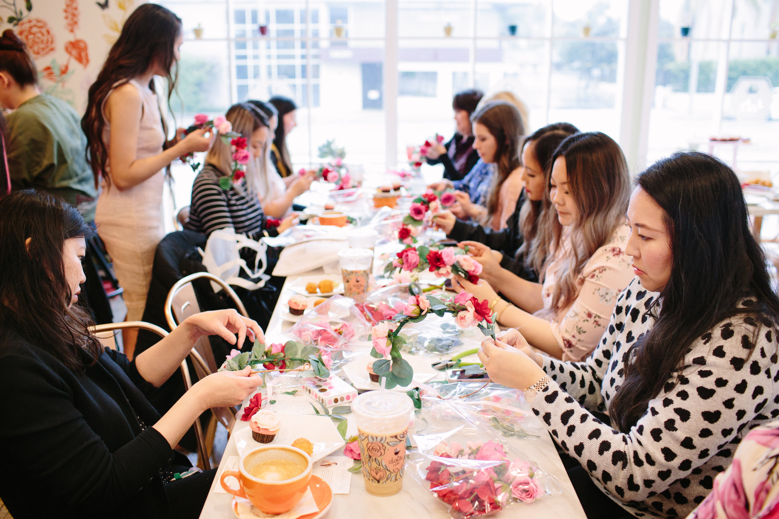 Flower Crown Workshop with Love Sparkle Pretty in Pasadena California. Galentine's Day