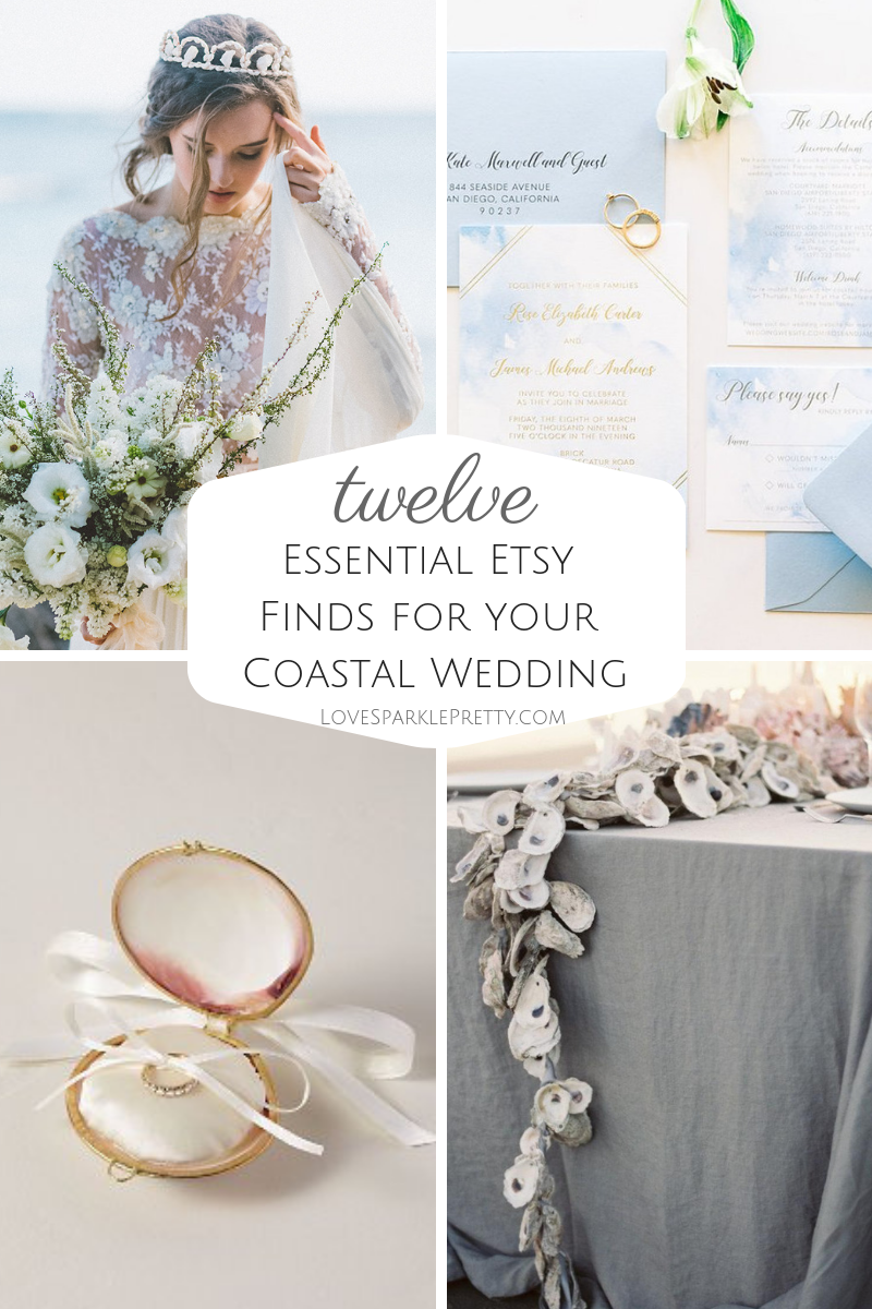 12 Coastal Wedding Ideas for the Beach Bride. Etsy Finds. On the Love Sparkle Pretty blog.