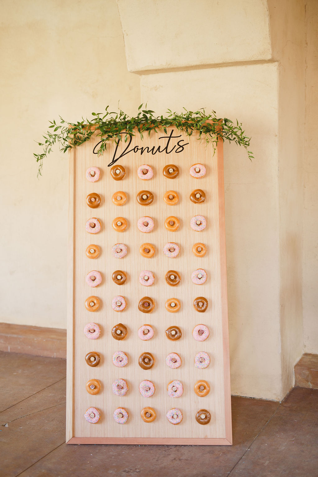 Donut wall by Brier Rose Design at flower crown workshop in southern California by Love Sparkle Pretty to provide clean water for World Vision
