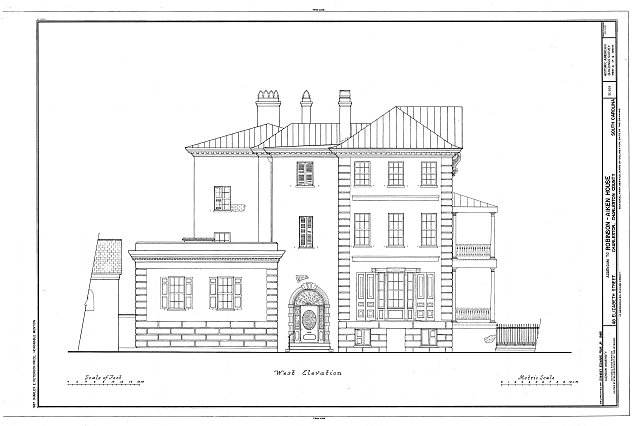 West elevation, drawing