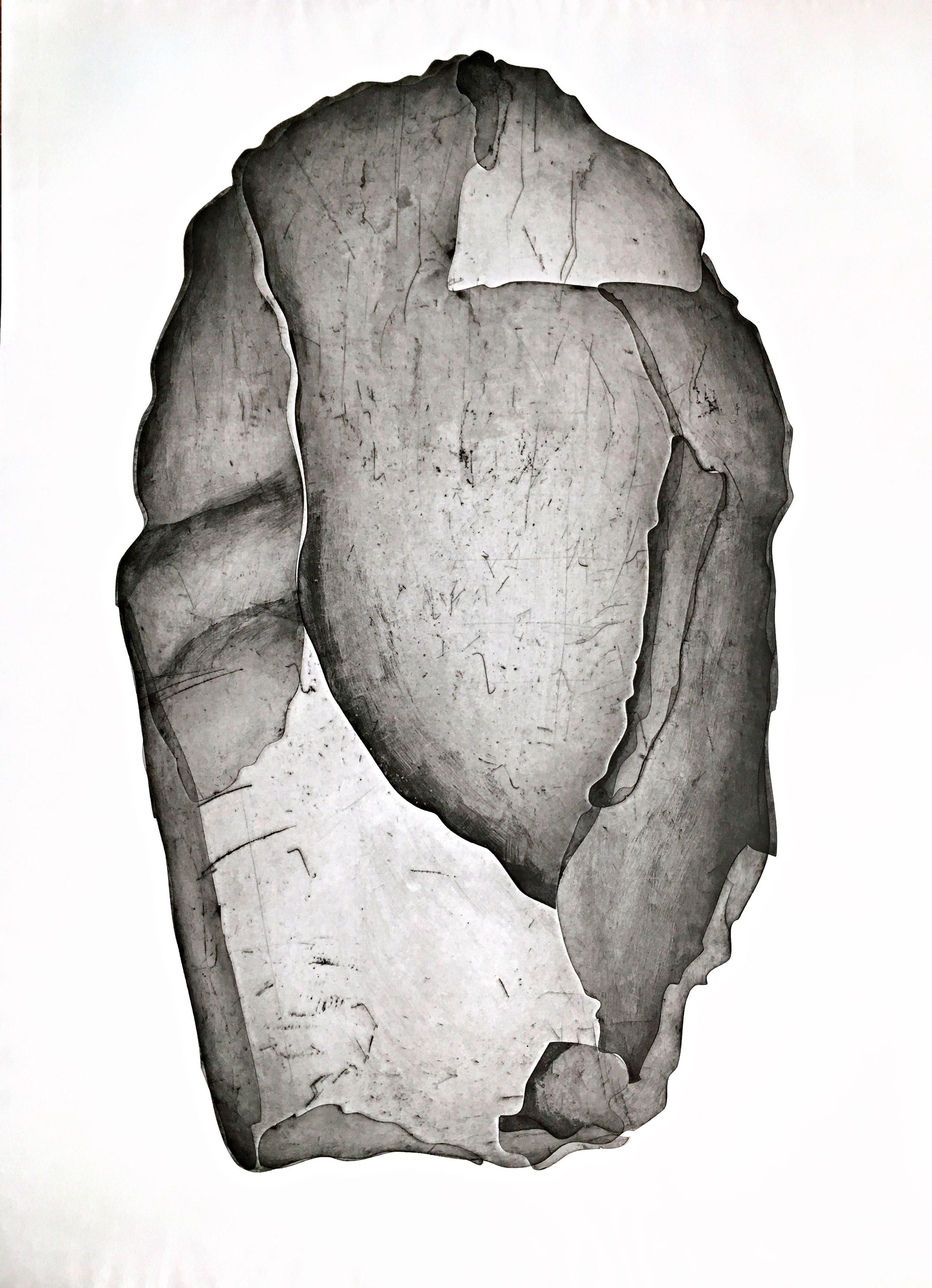 Stone Axe Head, monotype test, 2016, size: 135 x 95cm.  This is one of the first large monotype prints that I made at Basil Hall print studio in Braidwood NSW. You can see all the different plates (shards) that make up the whole stone tool. This image is a direct study of the stone tool. The paper is embossed at the edge of every new plate, you can see this very slightly in this image.