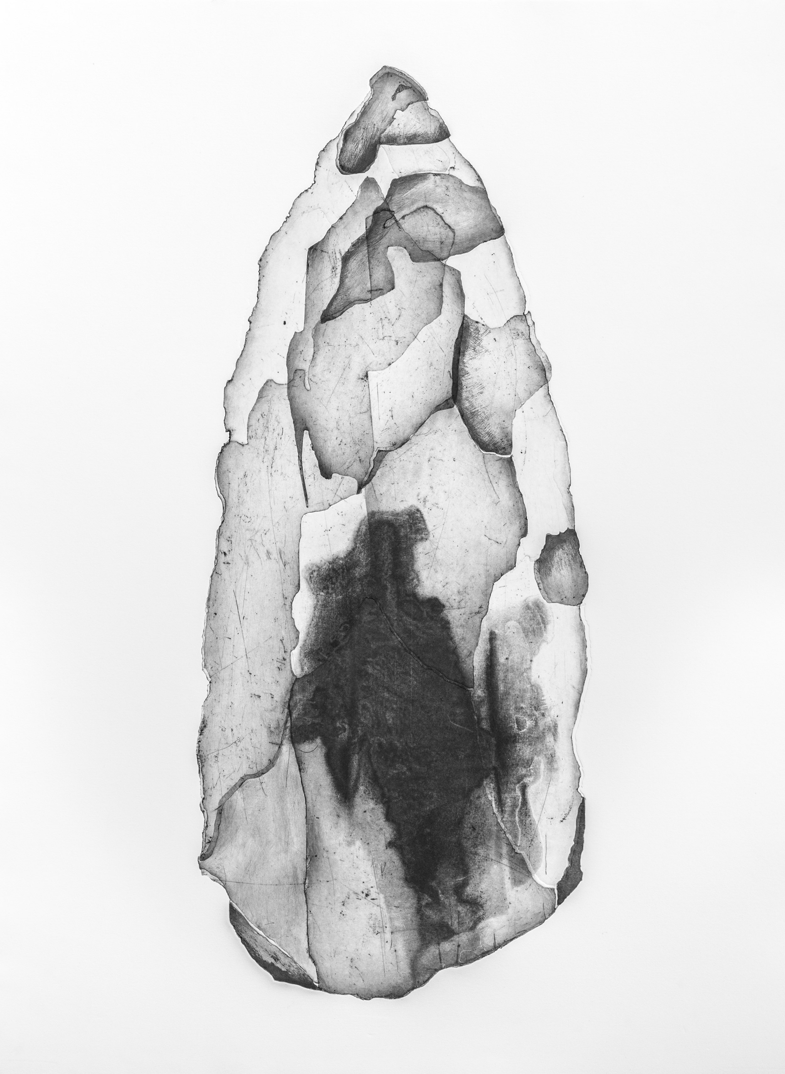 WORRORRA STONE TOOL, VIC COX COLLECTION  monoprint, 300 gsm Hahnemuhle paper, 78 x 106 cm, Dec 2017