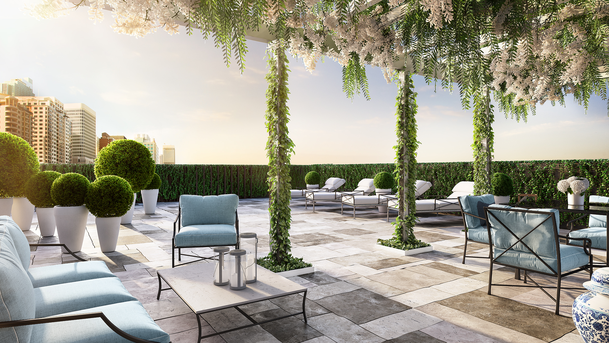 The outdoor terrace at Golf House Residences, Surry Hills