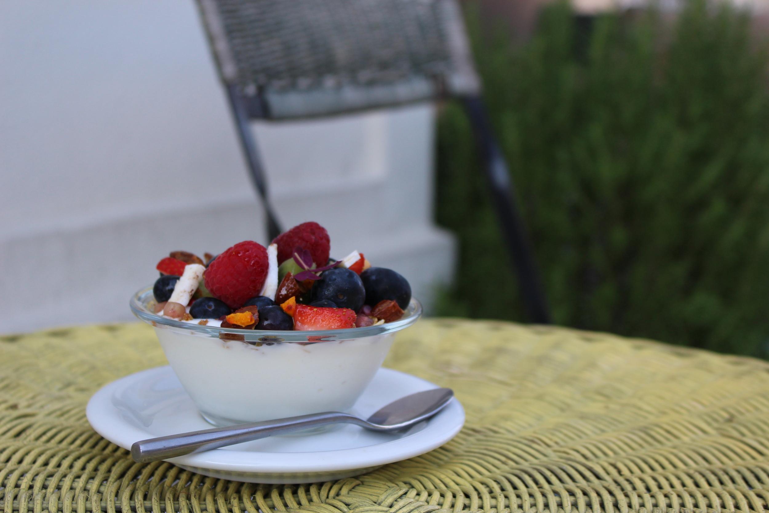 Skyr with granola and fruit - Café Det Vide Hus
