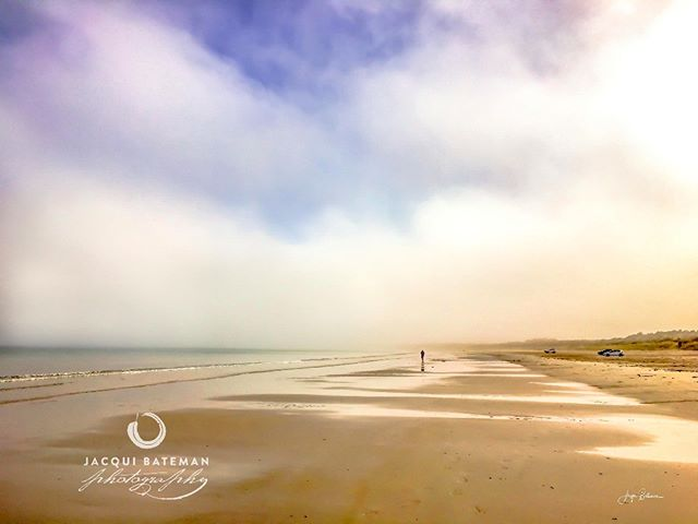 """Nothing soothes the soul, like a walk on the beach"" (Anon)  A solitary figure walks Long Beach at Robe just after sunrise as a sea mist rolls in and radiates a beautiful and almost ethereal light across the sand sea and sky.  #jacquibatemanphoto #jacquibatemanphotography #limestonecoast #sea  #beach #ocean #robe #peace #tranquility #solitude"
