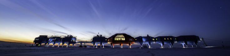The Halley VI Research Station, with the last sunlight for 100 days as it enters 24hr darkness in winter.