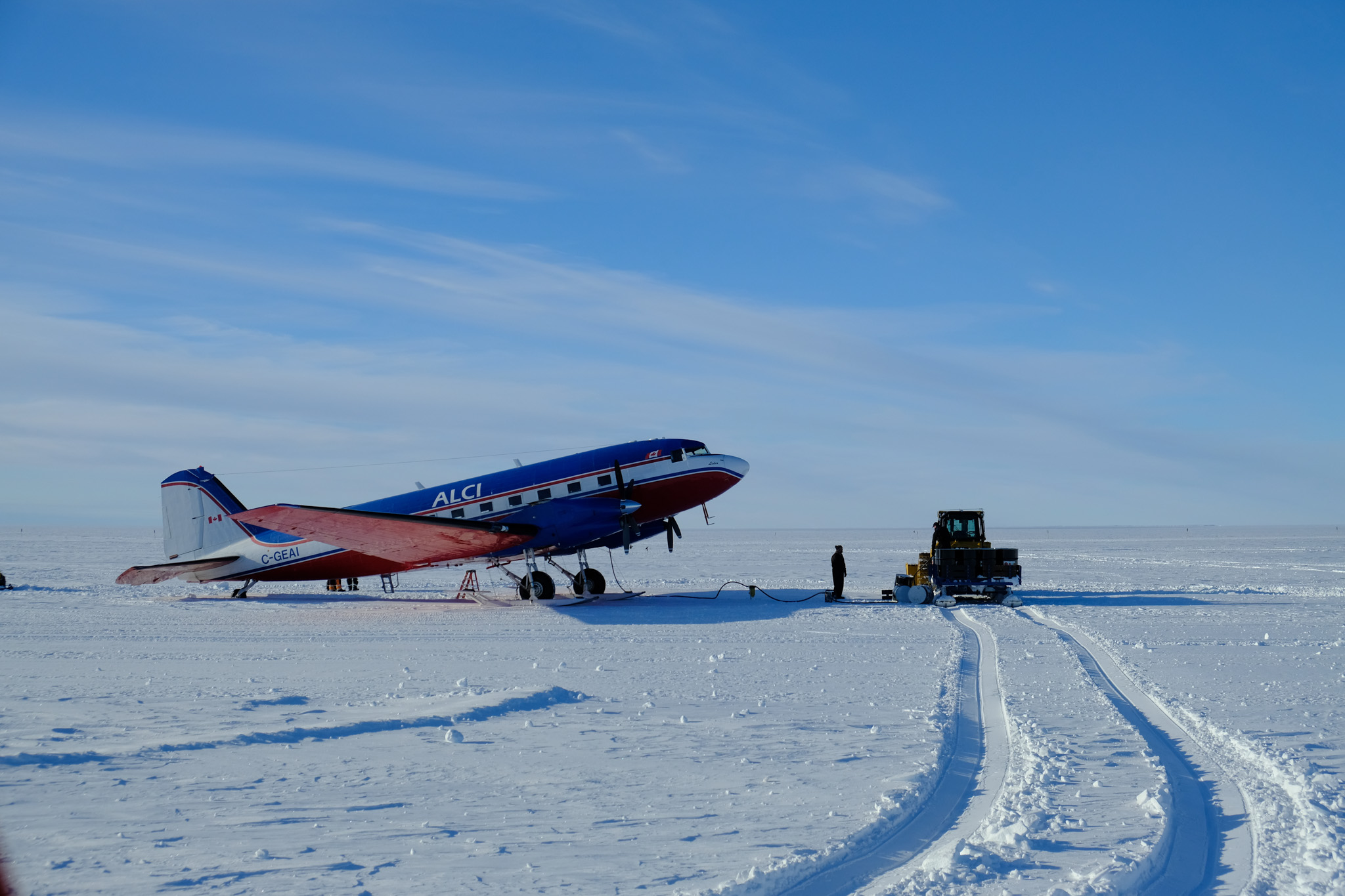 The Douglas DC-3 aircraft used to transport people to the Antarctic.