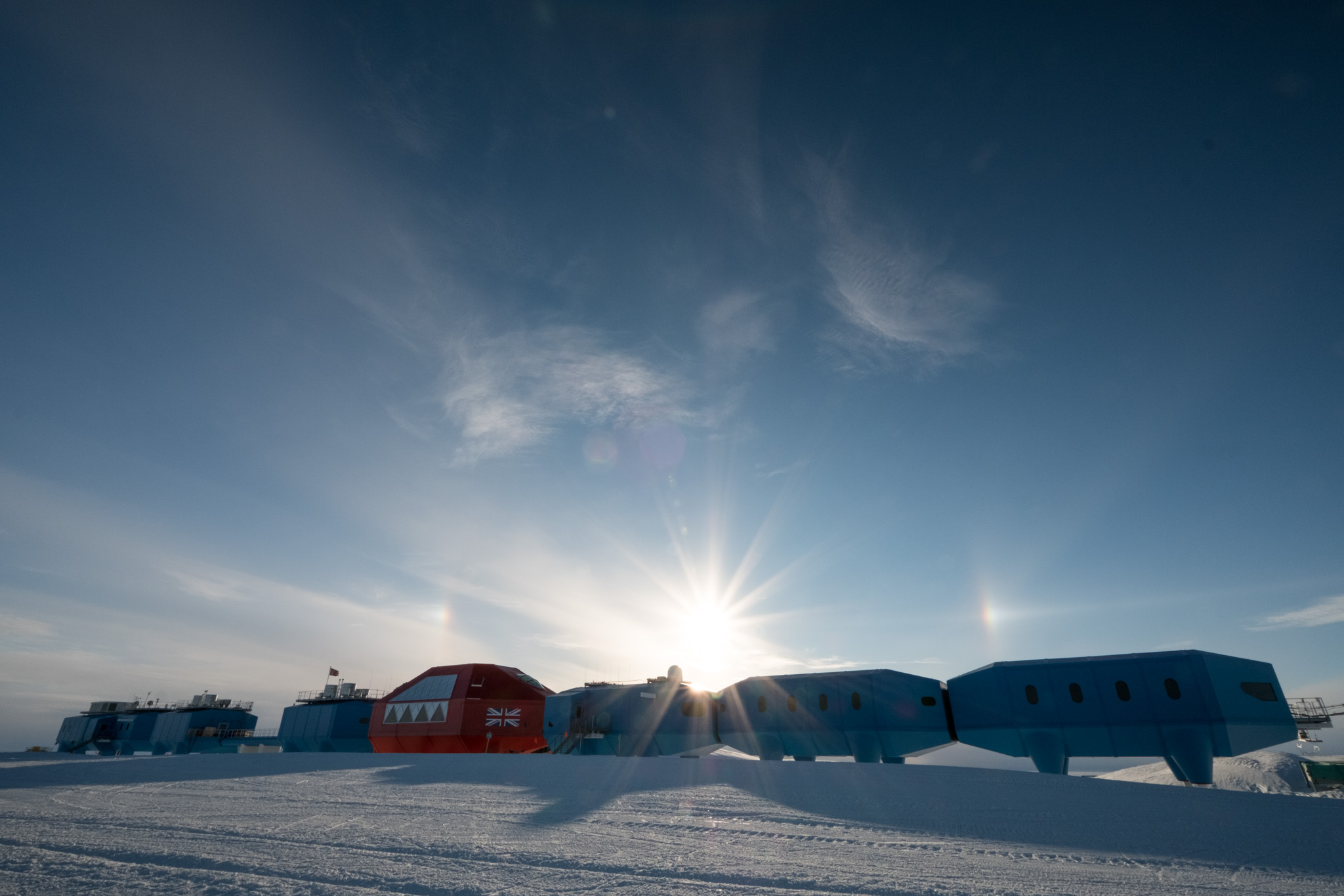 A beautiful shot of the Halley VI Research Station from Mike on a clear evening