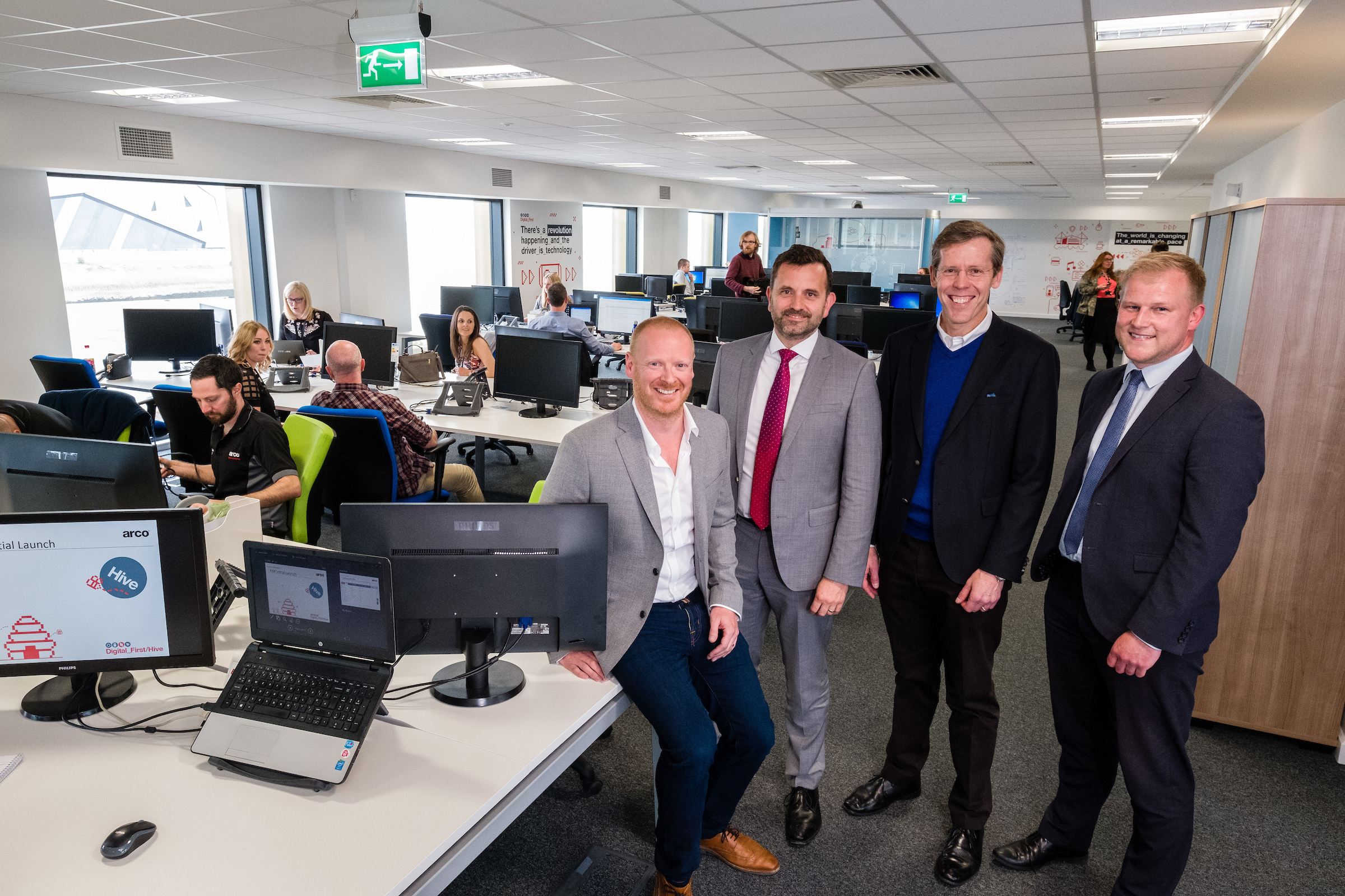From left, Arco Digital Director Richard Martin, Wykeland Group Managing Director Dominic Gibbons, Arco Chief Executive Neil Jowsey and Wykeland Asset Manager John Gouldthorp in the new home for Arco's digital team at Wykeland's @TheDock development.