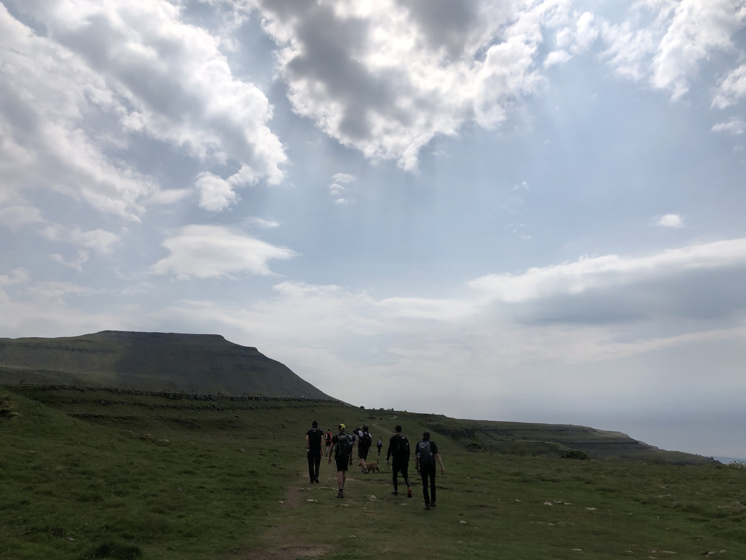 The team approaching Ingleborough - the final ascent.