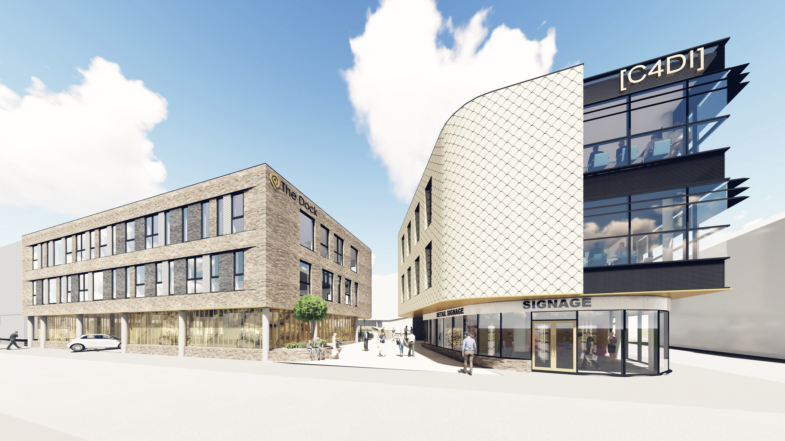 A computer-generated image of the two buildings proposed to complete Wykeland Group's @TheDock development in Hull's Fruit Market, as viewed from Queen Street. The building on the right includes a small retail unit on the ground floor.