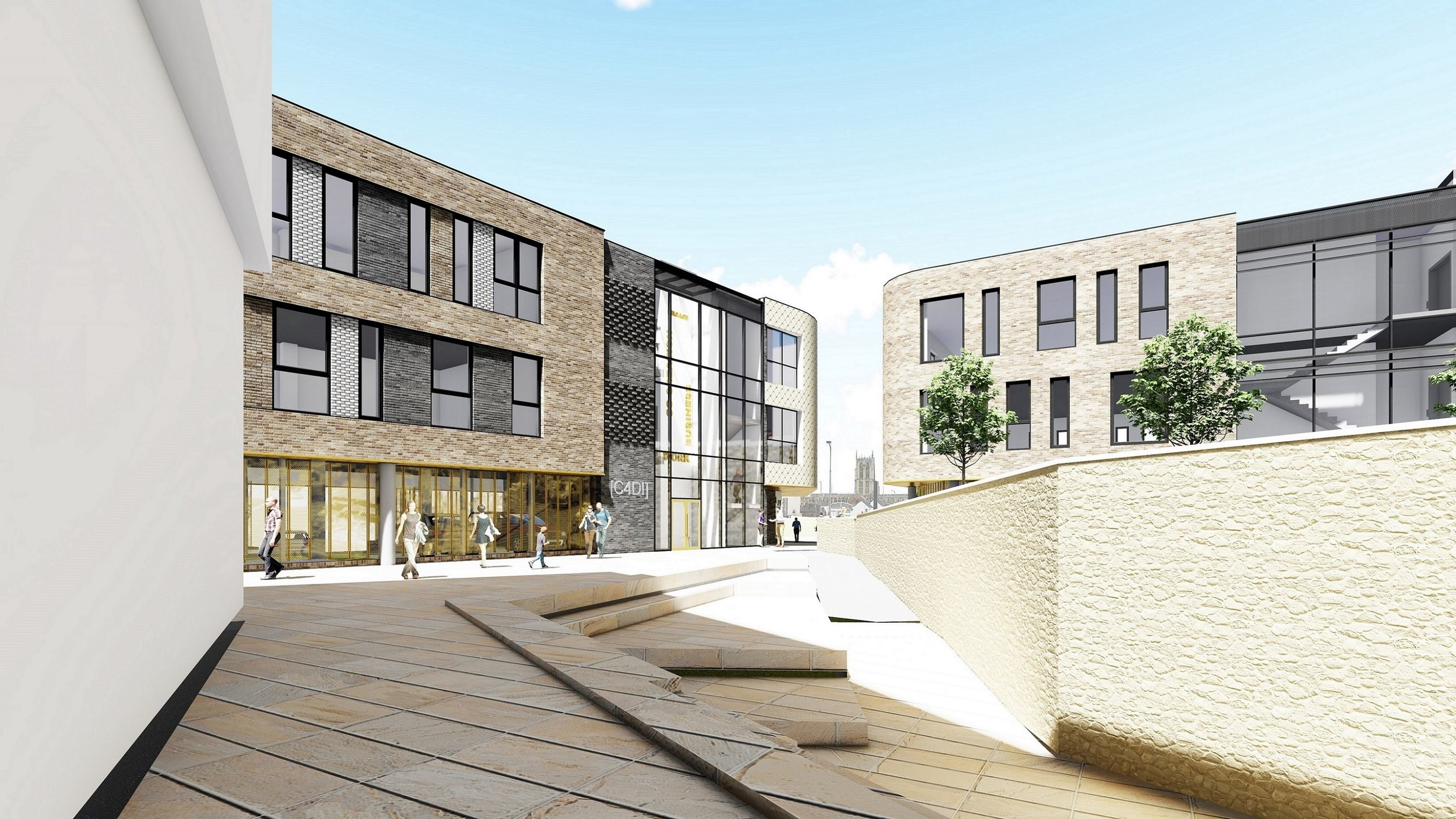 The new buildings proposed for Wykeland's @TheDock development, looking from the C4DI tech hub across a central plaza towards Humber Street.