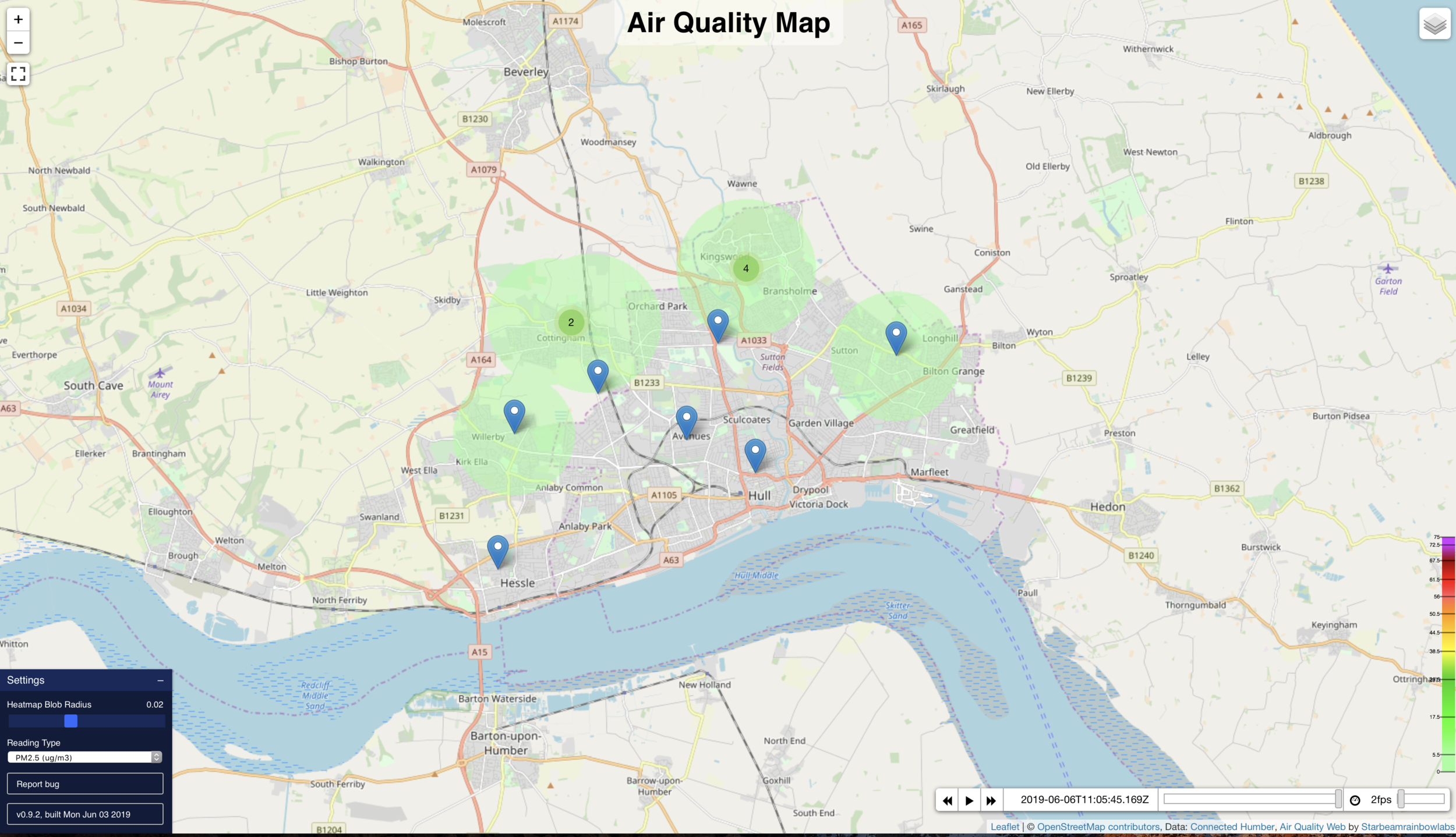Connected Humber Air Quality Map