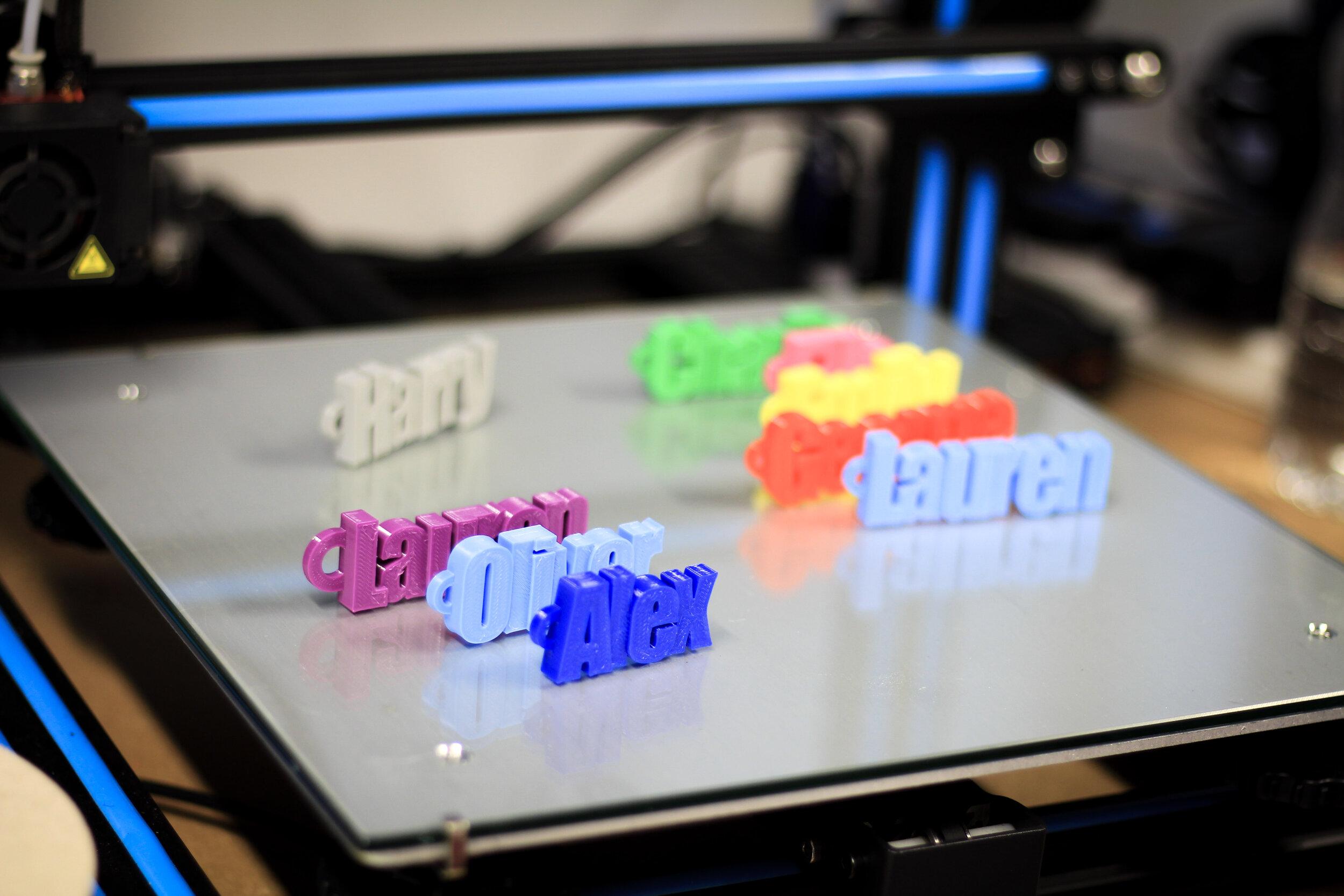 3D-printed personalised name keyrings.