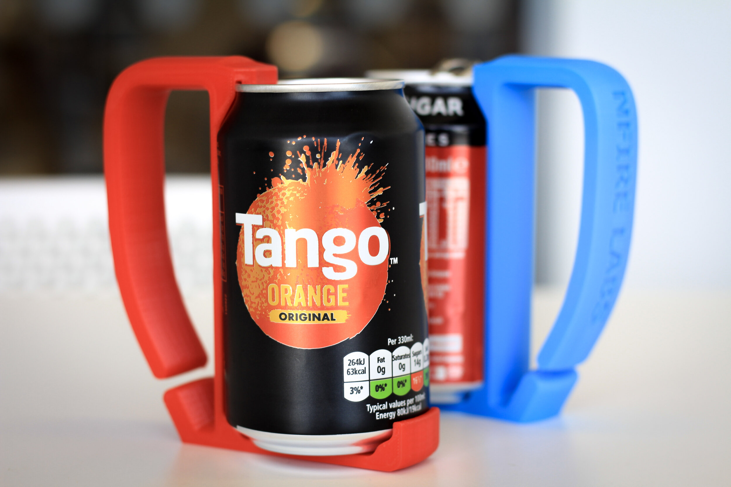 3D-printed personalised can holders.