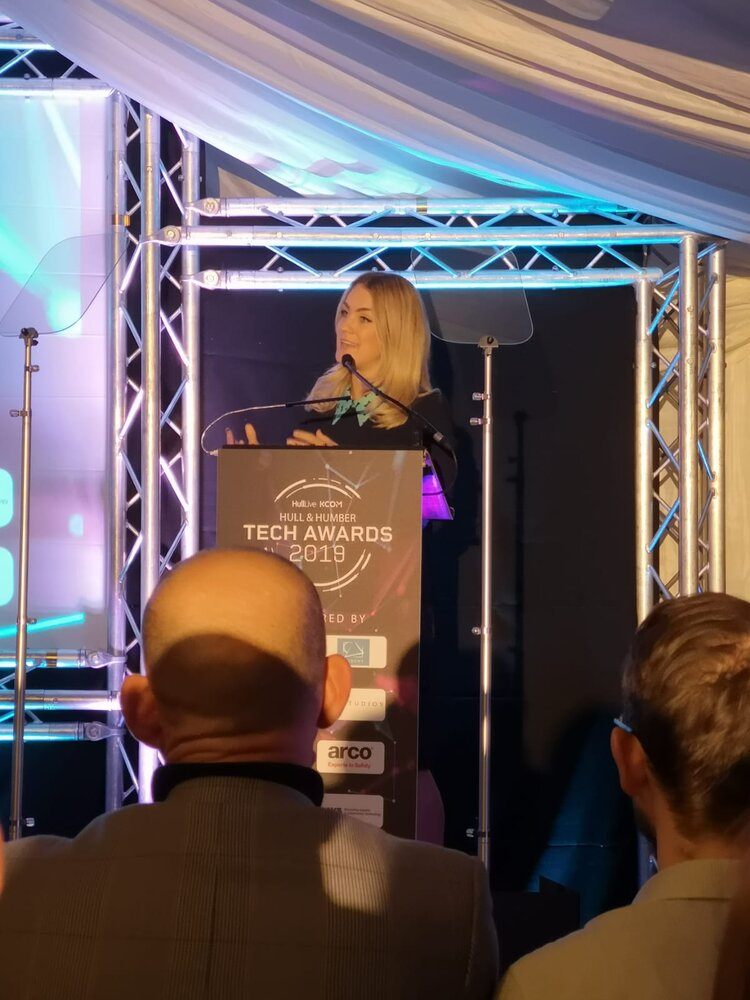 Georgie Barrat from The Gadget Show Presenting Hull and Humber Tech Awards 2019