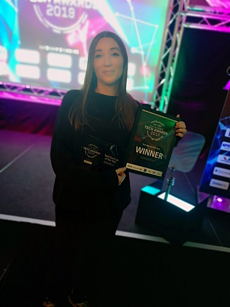 Bombyx winning Best Tech Startup at the Hull and Humber Tech Awards 2019