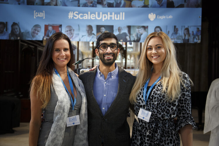 Louise Cooke, C4DI Community Manager, Dileepa Ranawake of Kinesis and Jess Johnston, Former C4DI Events & Hospitality Manager at last year's Barclays Eagle Labs Launch