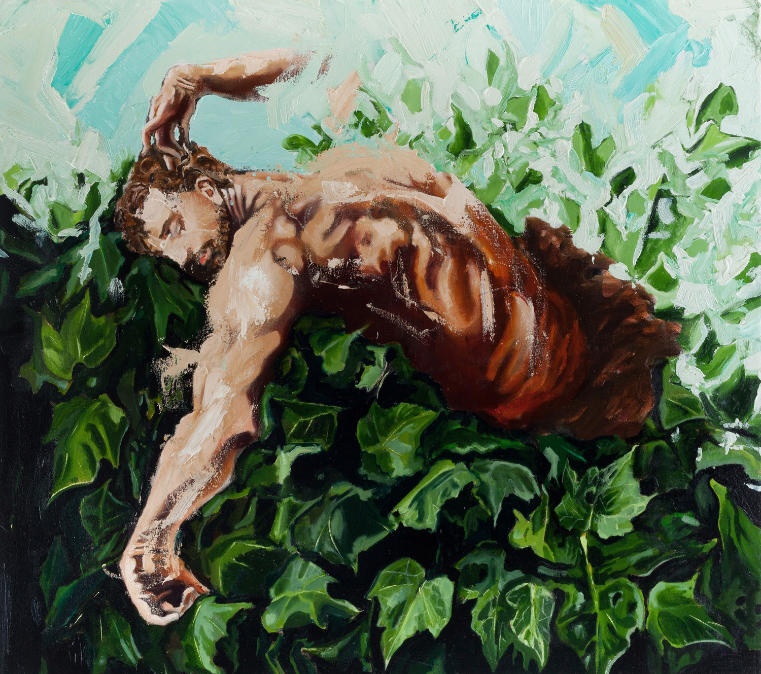 Samaon dreaming in the ivy, Oil on canvas, 90x80 cm, 2014