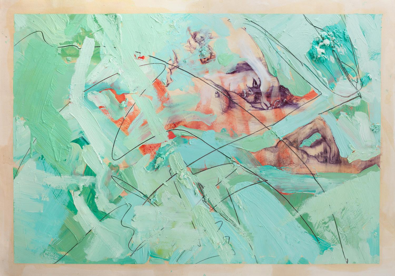 Delailah I, Ballpoint and oil on paper, 100x80 cm, 2014