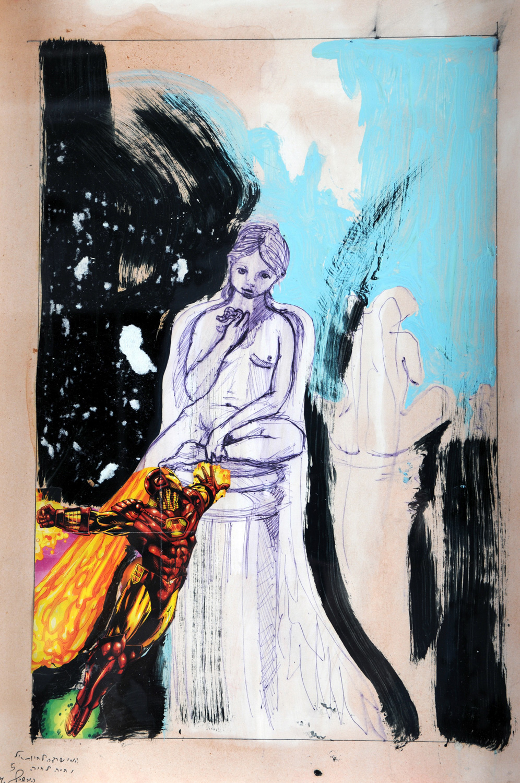 Iron Man I, Collage on paper, 60x30 cm, 2010