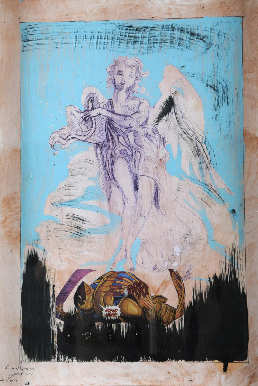 Iron Man II, Collage on paper, 60x30 cm, 2010