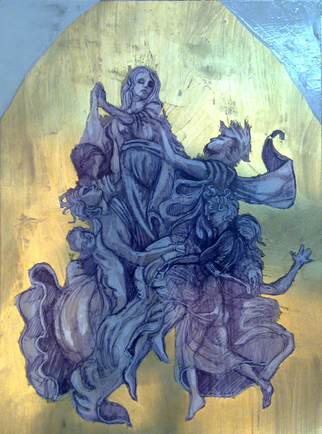 Assumption (after Poussin), Ballpoint and oil on paper, 25X50 cm, 2010