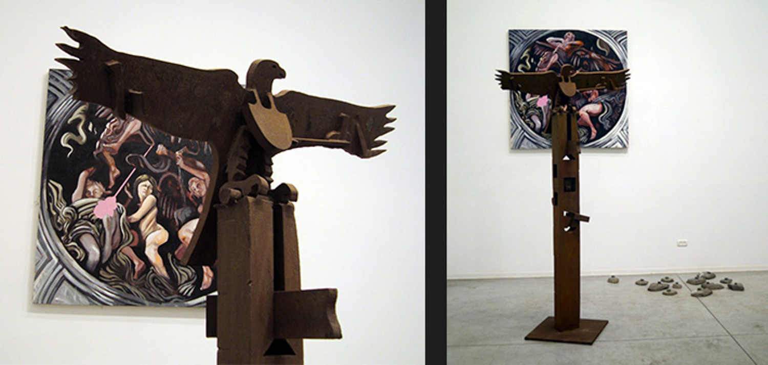 Small Ceilling, Installation behind Igal Tomarkin's Totem, Hezzi cohen gallery, 2011