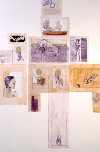 Drawing installation at The Jerusalem artists house, 2006