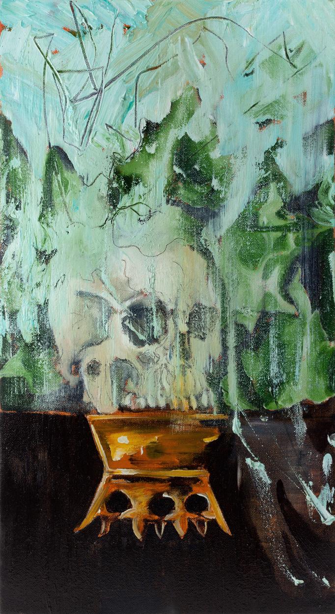Ivyskull, oil and pencil on canvas, 70x40 cm, 2013