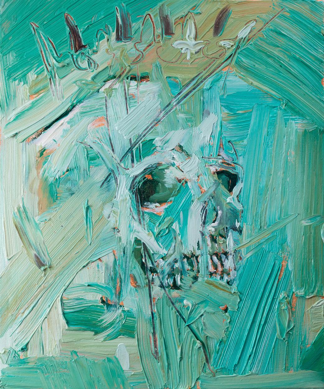 Skullitsky, oil and pencil on canvas, 30x20 cm, 2013