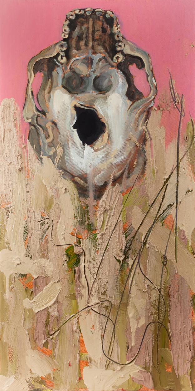 Foramen magnum II, Oil and pencil on canvas, 70x40 cm, 2013