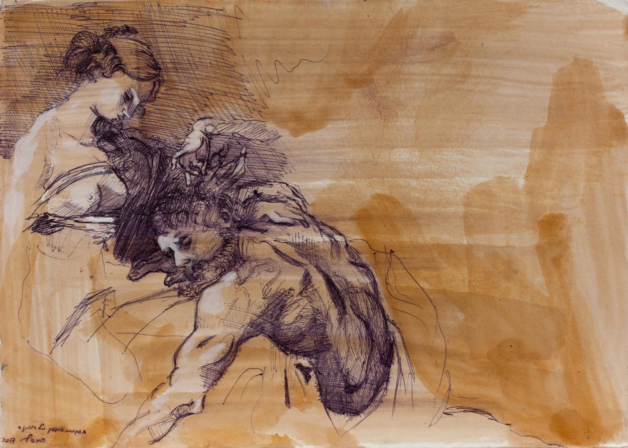 Samson (rubens) IV, Ballpoint on paper, 25x30 cm, 2013