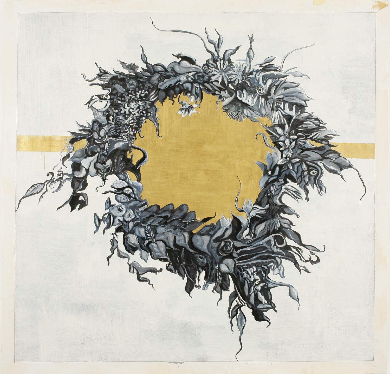 Wreath II, Oil on paper, 150x150 cm, 2008