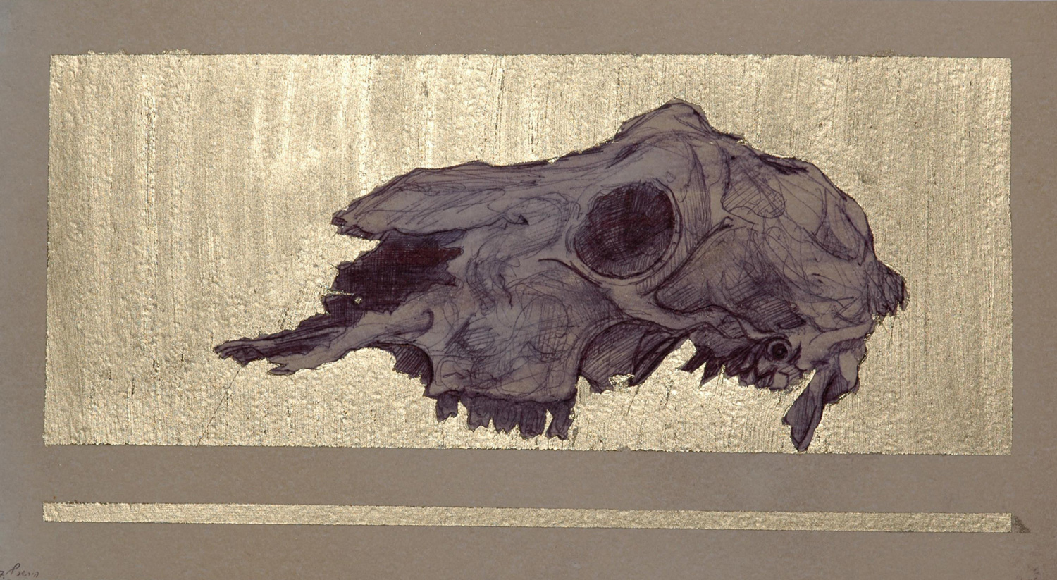 Untitled,Ballpoint and oil on paper 60x20 cm,2007