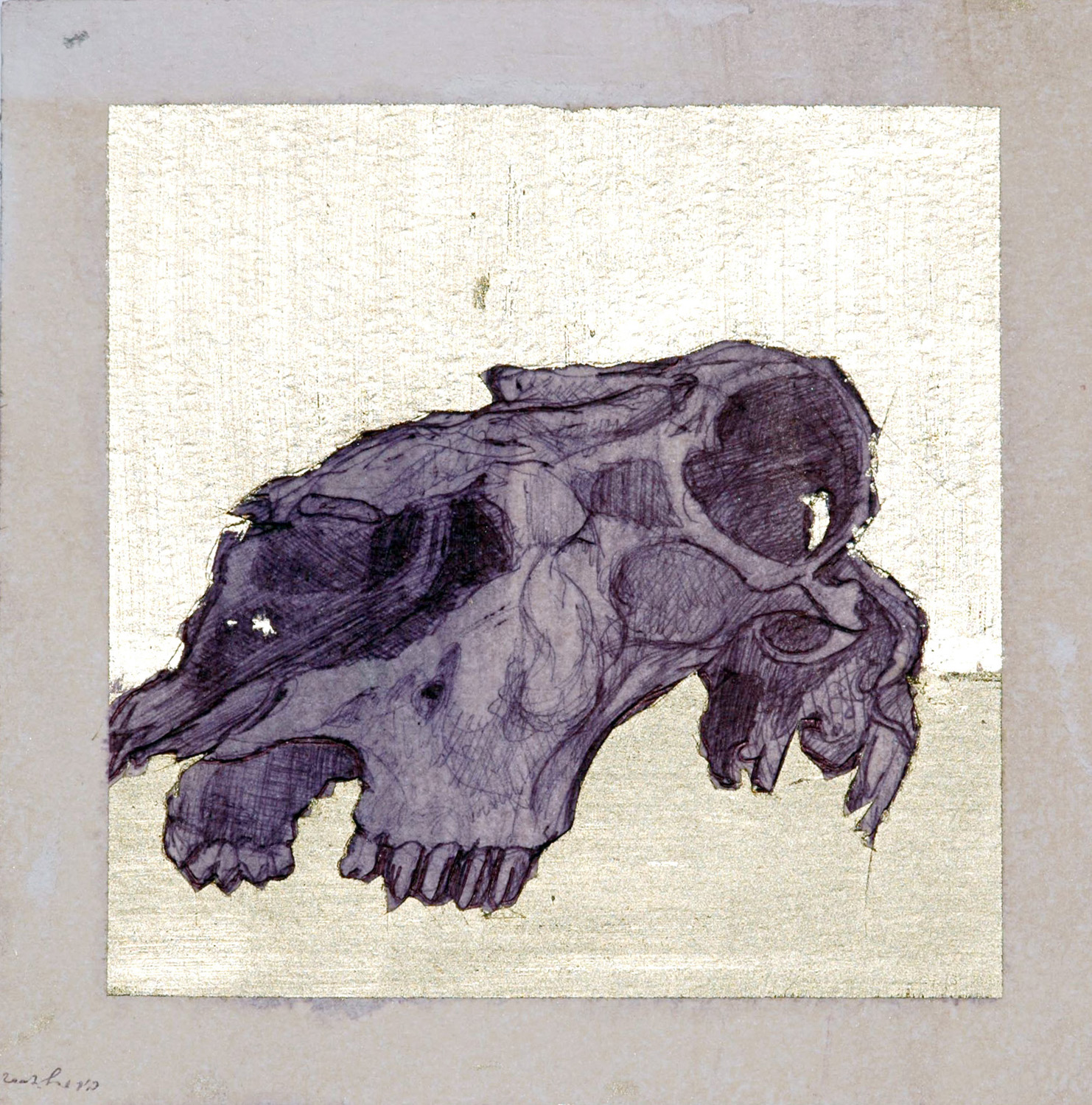 Untitled, Ballpoint and oil on paper, 20x20 cm, 2007