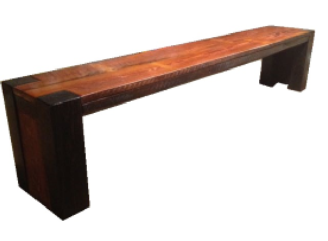 """Banded Plank Bench   6' long x 12"""" wide x 18"""" tall  Natural finish with dark walnut trim  $295"""
