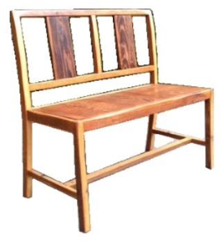 """Plank Back Bench   34"""" tall back  18""""tall seat x 37.5"""" wide x 16.5"""" deep  Natural finish  $385"""