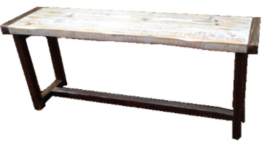 "ThinLine Plank Bench   48"" long x 12"" wide x 18"" tall  Whitewash with dark walnut trim  $235"
